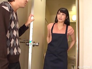 Hot ass Asian cleaner gets fucked by a lucky guy from behind