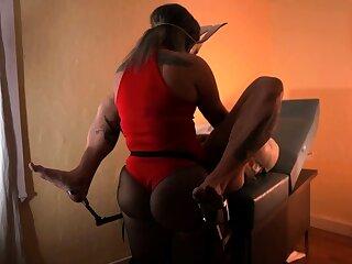 Hot femdom penetrates slaves parsimonious ass with big strapon