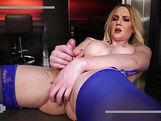 Bootyful transsexual slut in blue lingerie Kayleigh Coxx loves anal masturbation
