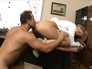 Sexy ass secretary drives the boss crazy with on the other hand penny-pinching she is
