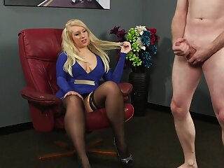 Clothed blonde is surprises to feel such dick relative to her hands