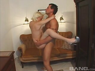 Sexy blonde girlfriend Petite Petra gets fucked relating to her tight ass