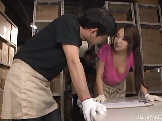 Fucking the busty Japanese slut foreigner work is crazy