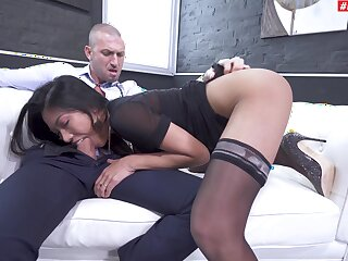 Hot amateur Asian chick plays submissive in the face of a white fleshly