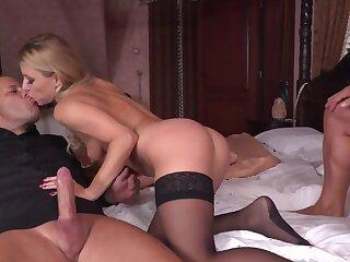 Man calls a friend round fuck slutty blonde wife in jet-black stockings