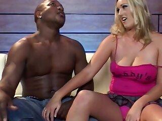 Shove around blonde MILF Persia A. enjoys having sex with a black brace