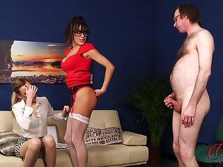 X babes Klara Belle and Kourtney Dice tease a naked cadger