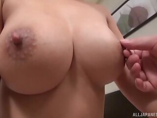 Doggy and creampie for a MILF with huge Asian tits
