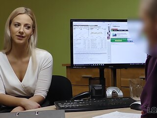 A young woman interviews for a job and fucks her new boss in the process