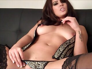 Pretty brunette Kandie takes off her lingerie and corset everywhere masturbate